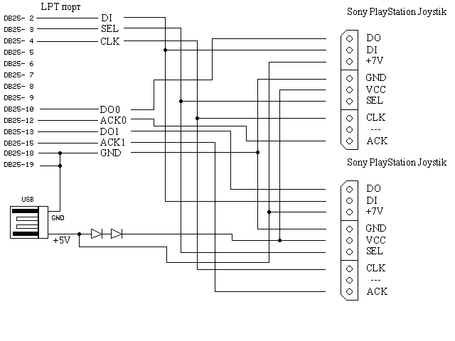 схема usb джойстик